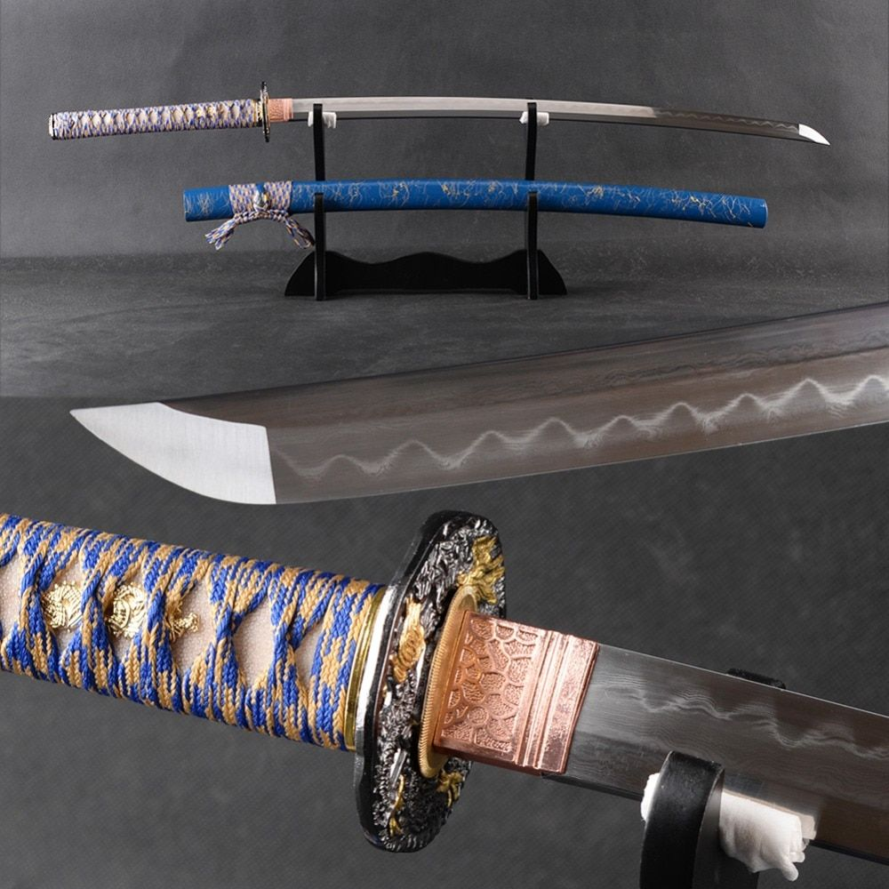 FULL TANG Japanese Samurai Sword Katana Handmade Folded Steel Clay Tempered Blade Espada No-Hi Very Sharp Katana Decor Swor