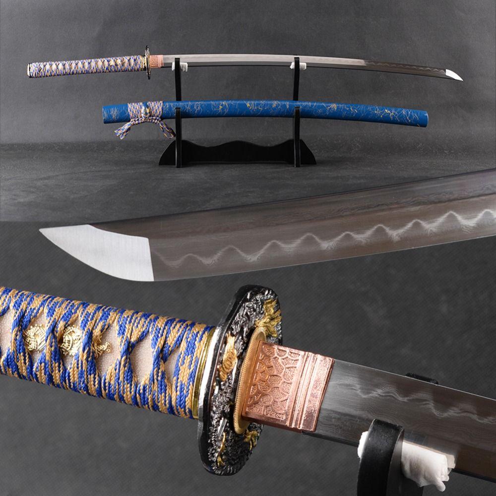 FULL TANG Japanischen Samurai-schwert Katana Handgemachten Gefaltetem Stahl Lehm Ausgeglichenem Blade Espada Keine-Hallo Sehr Scharfe Katana Decor Swor