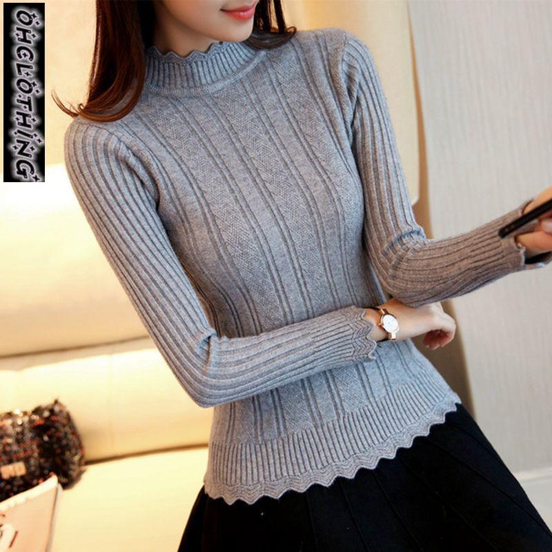 OHCLOTHIN 2019 nouvelle Mode demi femmes Coréennes tricoté chandail mince pétale col chemise Élastique Creux Col Roulé Twist Pull