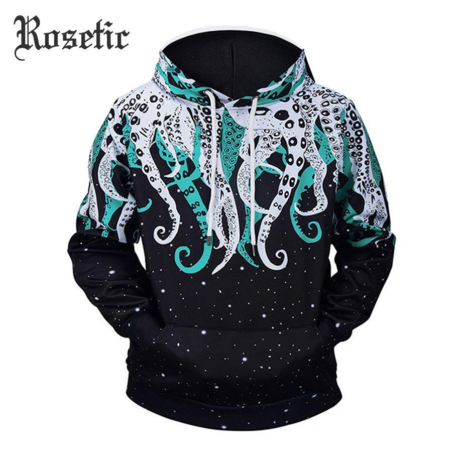 Rosetic Men 3D Sweatshirts Pullover Autumn Winter Hoodie Casual Streetwear Hooded Goth Tracksuits Loose Hip Pop Octopus Hoodie