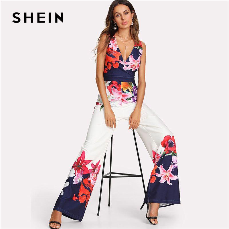 SHEIN Flower Print Zip Back Sleeveless Jumpsuit Elegant 2018 New Women Deep V Neck Sleeveless High Waist <font><b>Wide</b></font> Leg Jumpsuit