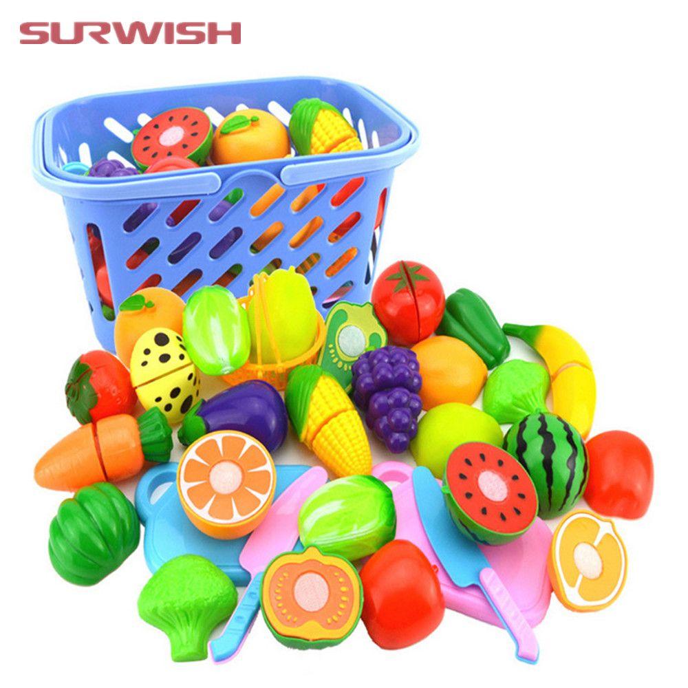 Surwish 23 шт./компл. Пластик фрукты овощи Резка игрушки Раннее развитие и образование игрушка для ребенка-Цвет случайный