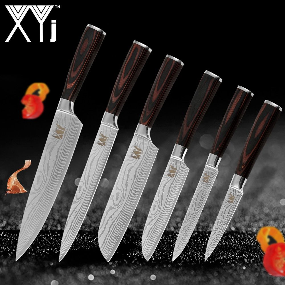 XYj Kitchen Knives Stainless Steel Knife Tools New Arrival 2019 Color Wood Handle Fruit Vegetable Meat Cooking Tools Accessories