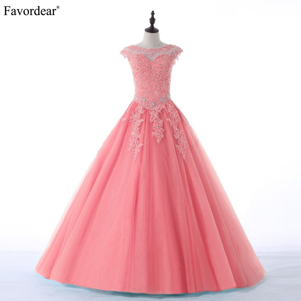 Favordear New Collection Quinceanera 15 Years Vestidos De 15 Anos High Neck Red Pink Turquoise Quinceanera Gowns Party Dress