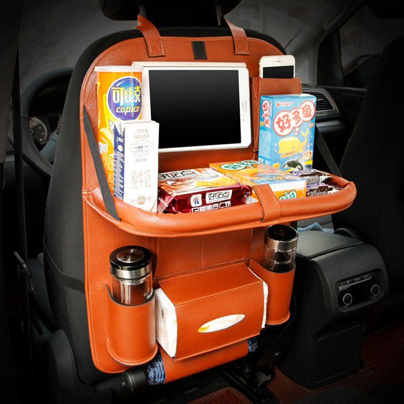 Leather Car Back <font><b>Seat</b></font> Organizer Pockets Folding Backseat Hanging holder Storage Bags Car Tissue Bag Auto Organizador Black