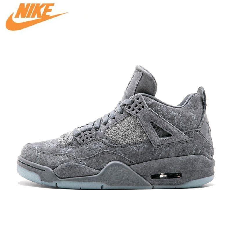 Nike Original Neue Ankunft Offizielle KAWS x Air Jordan 4 Cool Grey Basketball-schuhe Breathable männer Sport Turnschuhe 930155-003