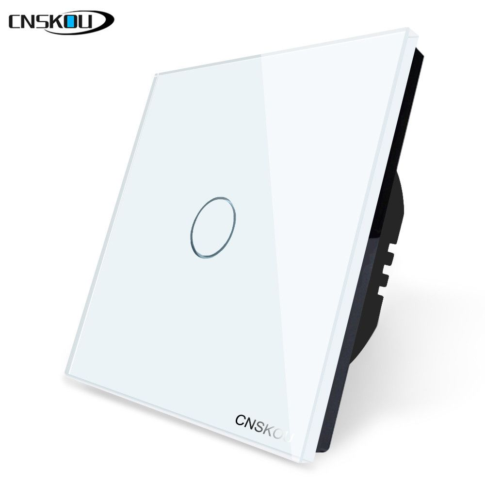 Cnskou brand EU Standard Touch Switch 1 Gang 1 Way,Wall Light Touch Screen Switch,White Crystal Glass Panel For LED