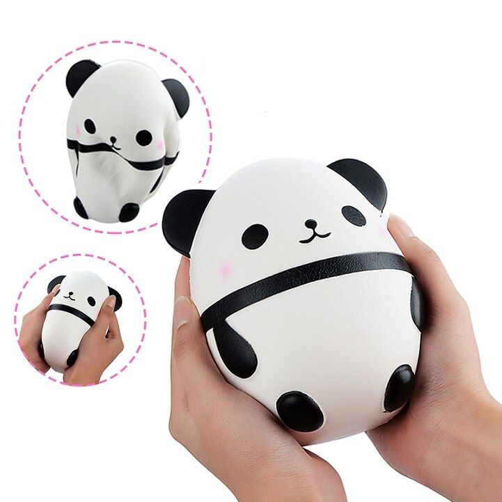 14CM Jumbo Fat Panda Egg Squishy Doll Phone Straps Car Decoration Slow Rising Kawaii Animal Kids Toys Soft Squeeze Fun Gift P15