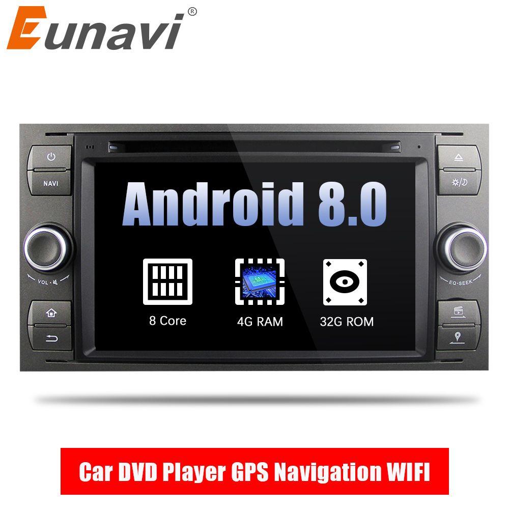 Eunavi 2 Din Android 8.0 Octa 8 Core Auto DVD Player GPS Navigation WIFI 4G für FORD S-Max kuga Fusion Transit Fiesta Focus II