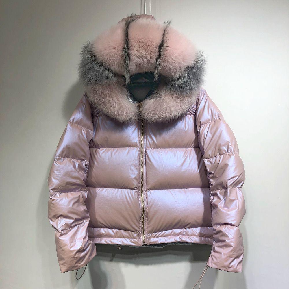 Große Reale Natürliche Fuchs Pelz 2018 Winter Jacke Frauen Unten Parkas Mäntel Mit Kapuze Weiße Ente Unten Jacke Doppelseitige Wasserdicht mantel