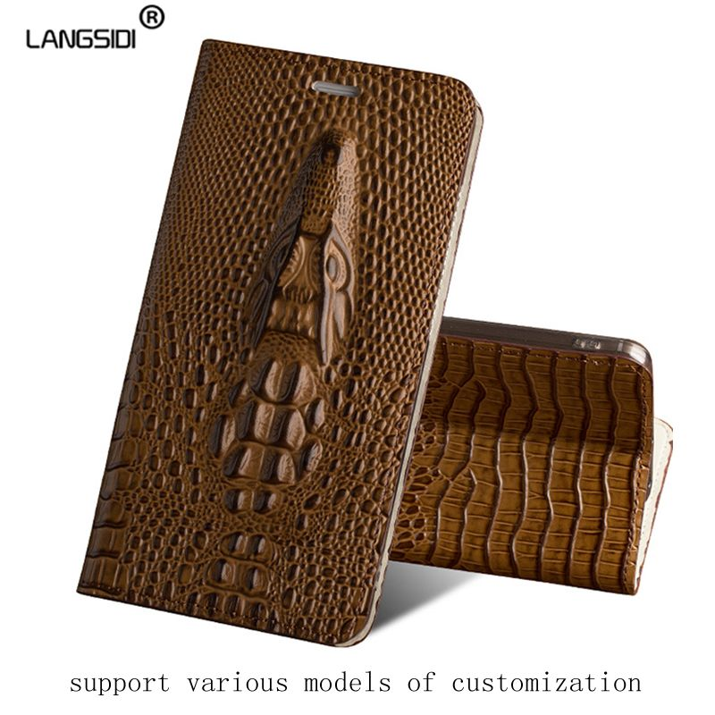 Luxury Genuine Leather flip Case For Nokia 2 3D dragon head model Invisible magnetic soft silicone Inner shell phone cover