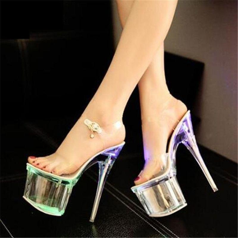 New 2018 Fluorescence Nightclub Female Shoes Bridal Shoes Car Show Female Sandals Ultra High Heels 17.5cm Transparent Sandals