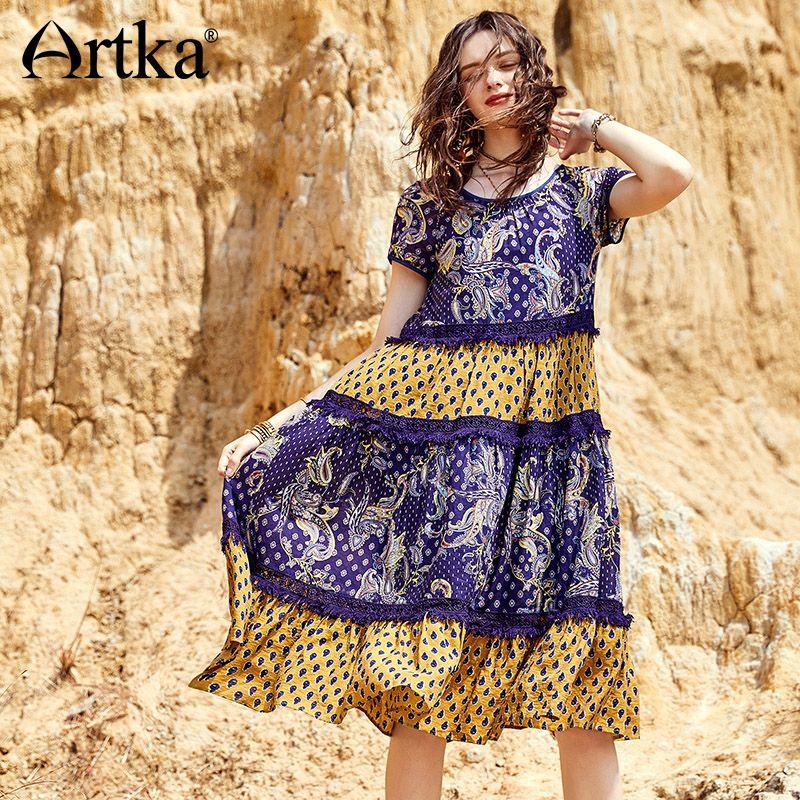 Artka 2018 Summer Women Bohemian Cotton Floral Contrast Color Patchwork Hollow Lace Loose Waist Big Swing Long Dress LA12184X