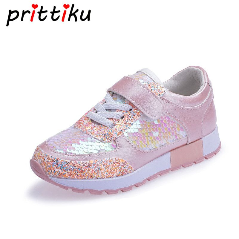 Baby Toddler Girl Boy Mermaid Sequin Glitter Sneakers Little Kid Fashion Casual Trainer Children Spring Pink Black School Shoes