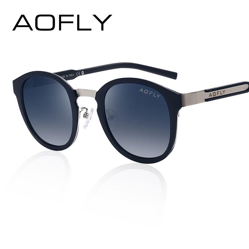 AOFLY Marca Ovalada Moda Polarizadas Gafas de Sol de Verano Gafas de Sol de La Vendimia Gafas Marco Gafas Retro Diseñador de la Marca Negro AF2420