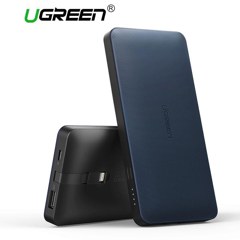 Ugreen 10000 mah Banco de la Energía de Batería Externa Powerbank Portátil con Cable de Carga para Android y IOS Teléfonos Móviles Banco de Potencia