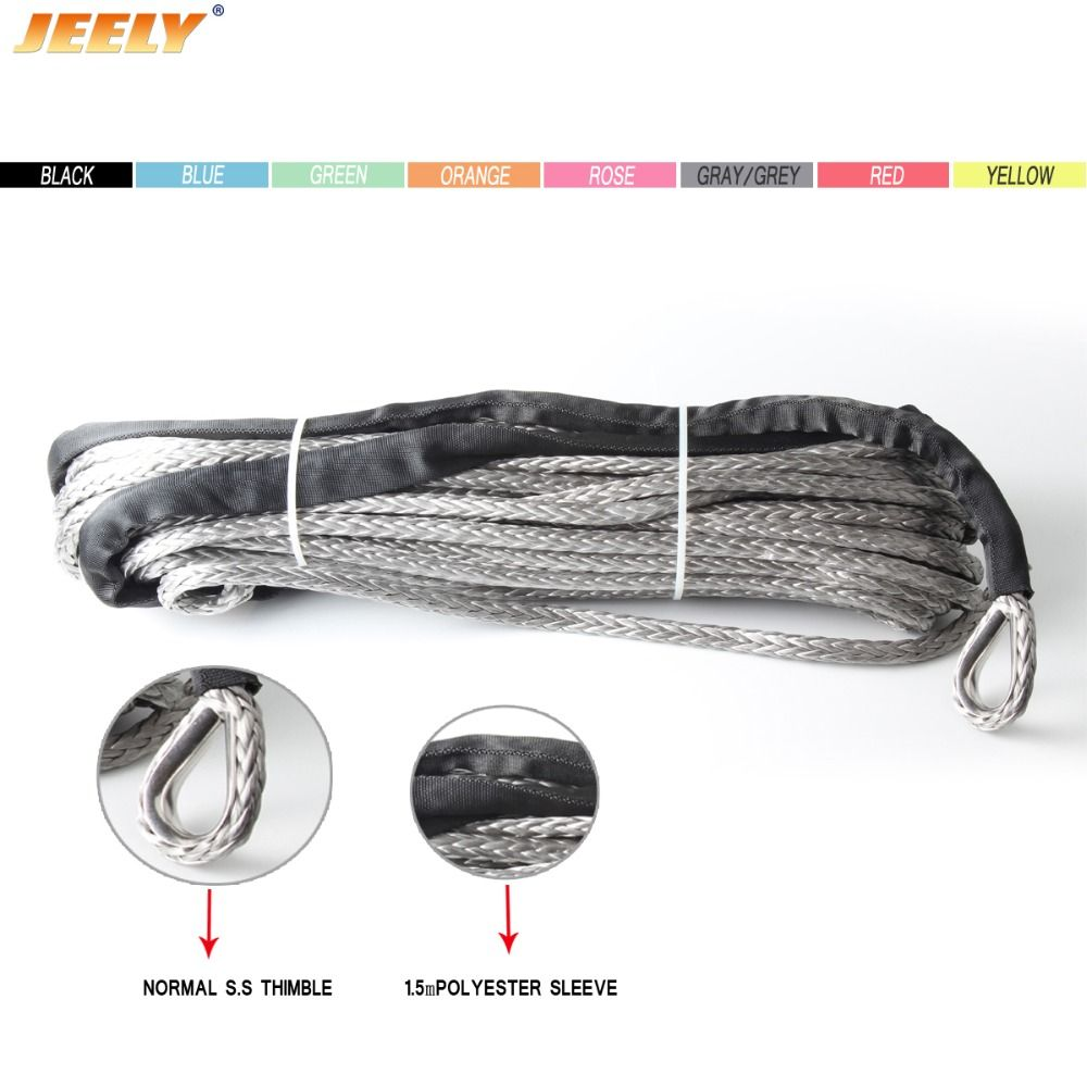 JEELY 6MM*30M  UHMWPE ATV & UTV Off-road Winch Rope 100'x1/4'' Strand 12 Braided synthetic winch towing rope