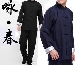 2016 Классический китайский костюм Тан черный синий костюм кунг-фу Брюс Ли одежда крыло Chun taiji tai chi комплект одежды костюм для мужчин