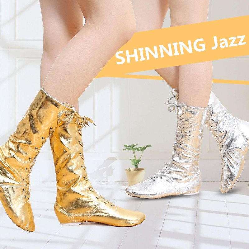 New Canvas PU Children Dance Boots Jazz Dancing Shoes Lace-ups Long Boot Black Gold Silver Stage Girls Performing Shoes KID