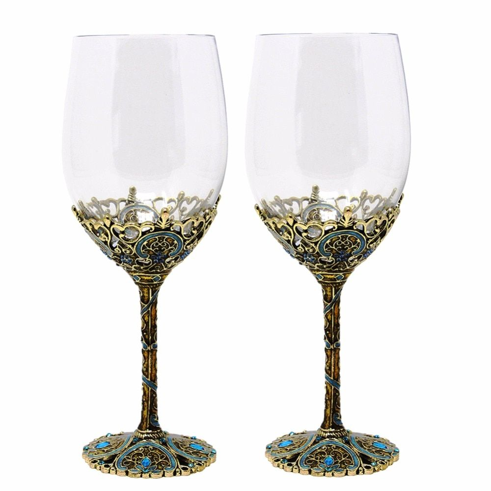 KEYTREND Luxury Wine Glass Vintage Gun Black Plated Alloy Base Blue Rhinestones Decoration AECL115