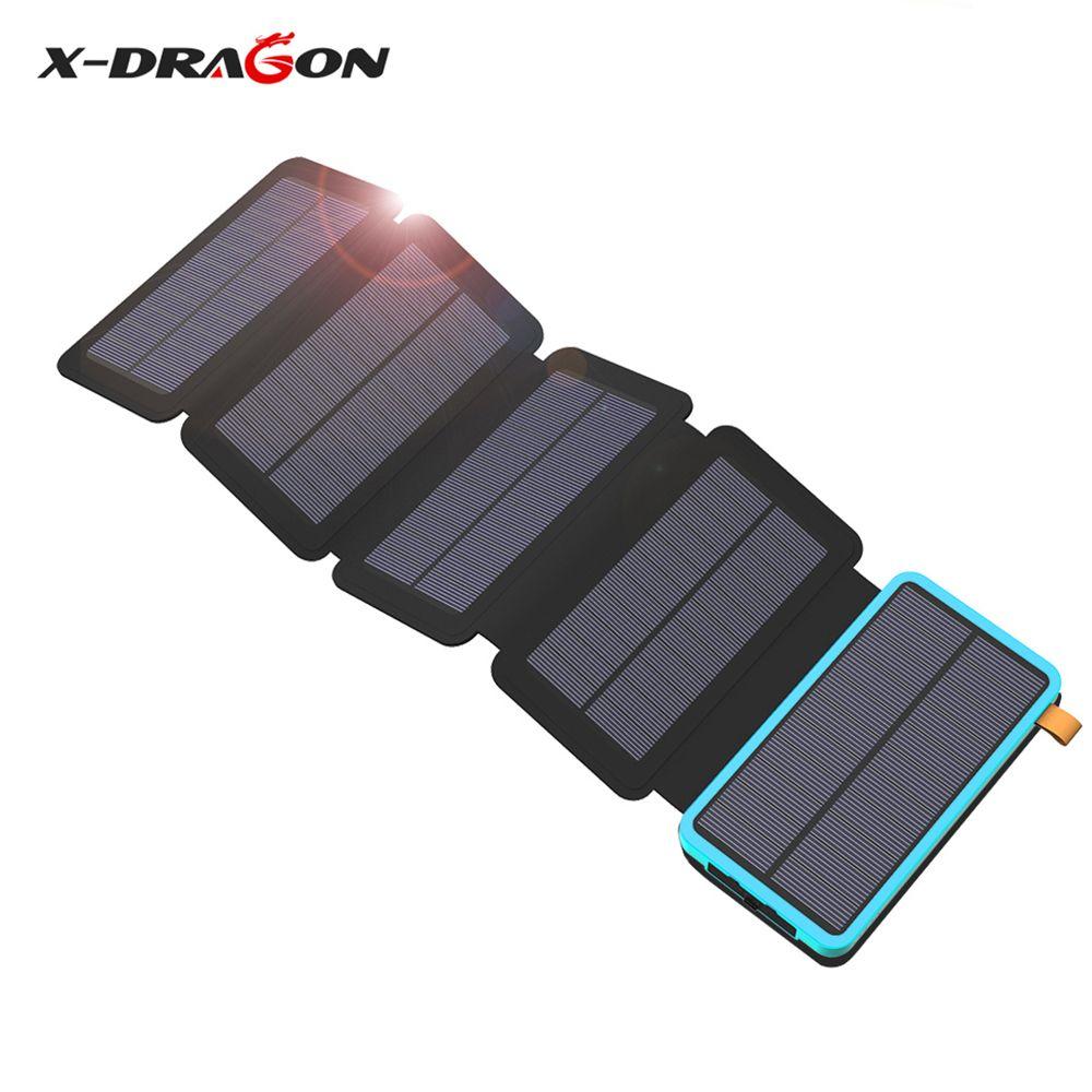 X-DRAGON Solar Handy-ladegerät 20000 mAh Solarenergienbank für iPhone 4 s 5 s SE 6 6 s 7 7 plus 8 X iPad Samsung HTC Sony LG Nokia.