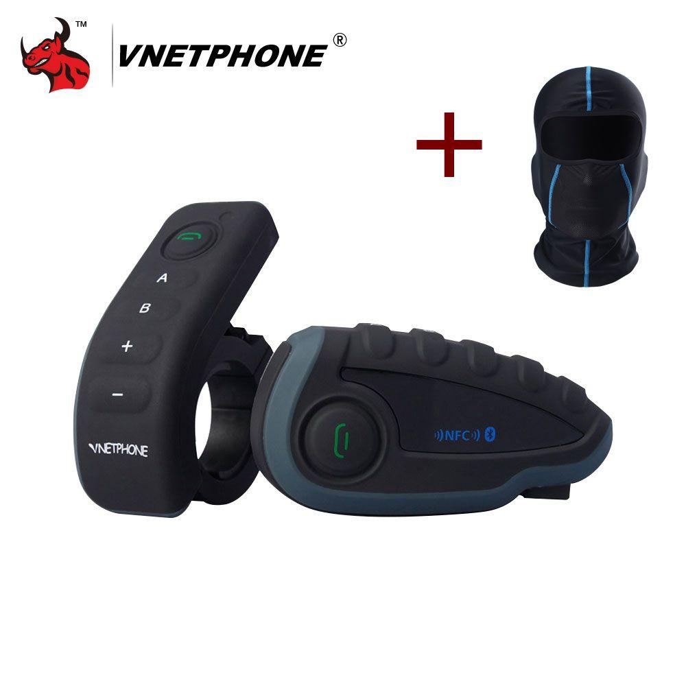 VNETPHONE V8 1200M Bluetooth Intercom Motorcycle Helmet Interphone Headset NFC Remote Control Full Duplex+FM Including One Mask