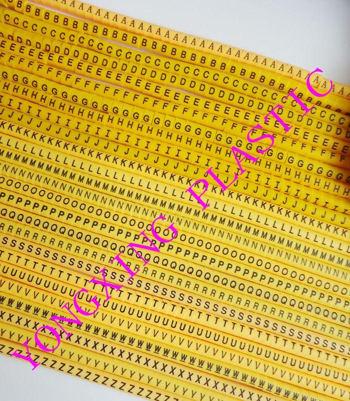 Freeshipping EC-0 à EC-3 (0.5 à 16mm2) ABCDEFGHIJKLMNOPQRSTUVWXYZ 26 différents lettre câble marker définit jaune couleur