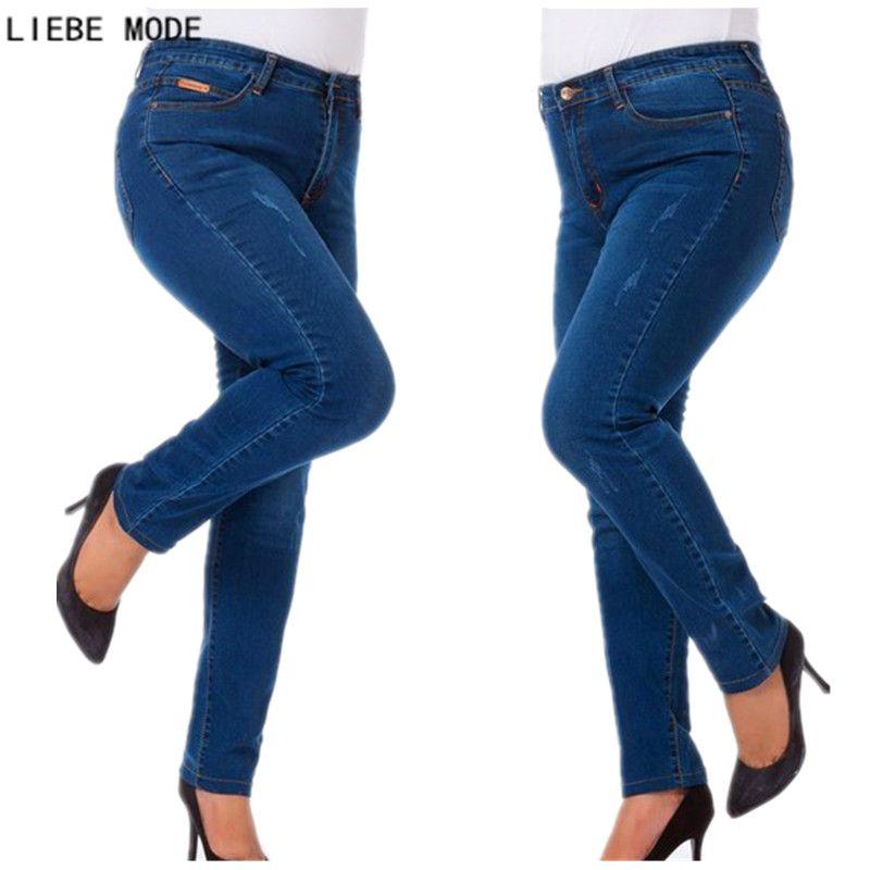 Весна-осень-зима женские стрейч тощий highwaiste Джинсы для женщин Женская обувь, Большие размеры 5XL 6XL 7XL карандаш Брюки для девочек Высокая тали...