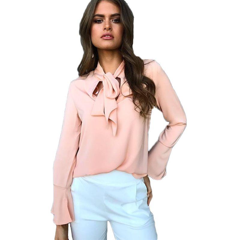 2017 New Autumn winter Shirts Women Long Flare Sleeve Temperament Frenulum Ladies Bow Casual Office Blouse Femme Tops Pink Black