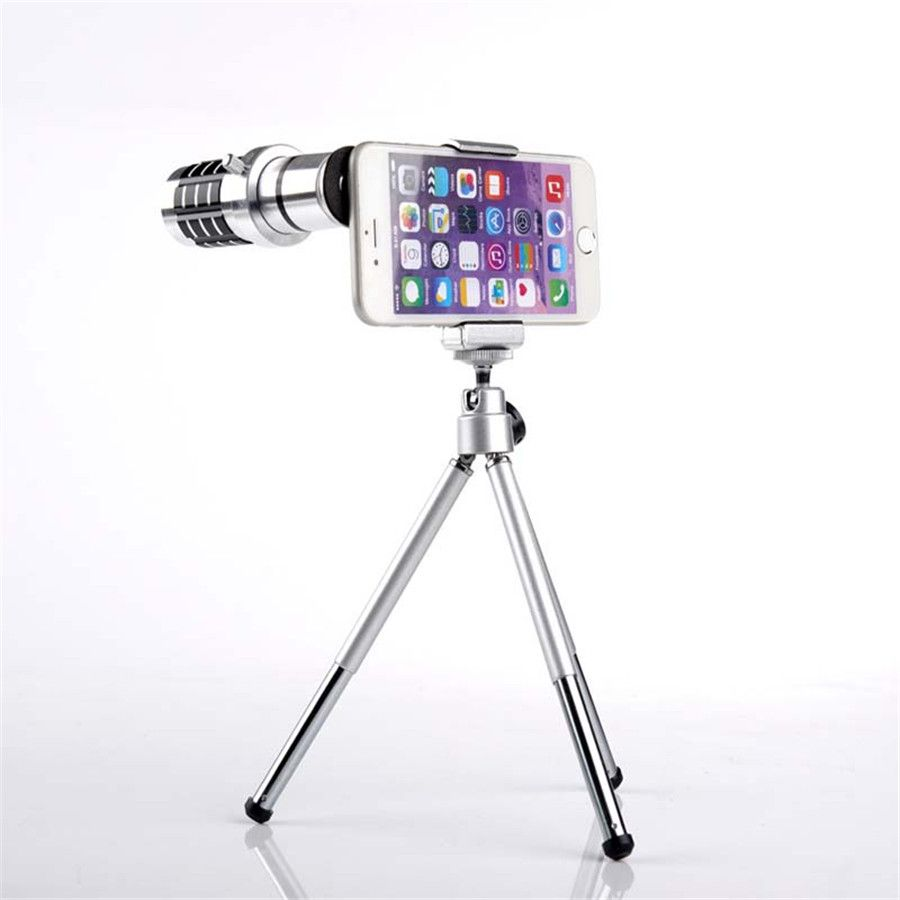 New Arrival 12X Zoom Lens Kit Mobile Phone Telescope Mobile Phone Optical Camera Lens Mount Tripod Universal For iPhone Samsung