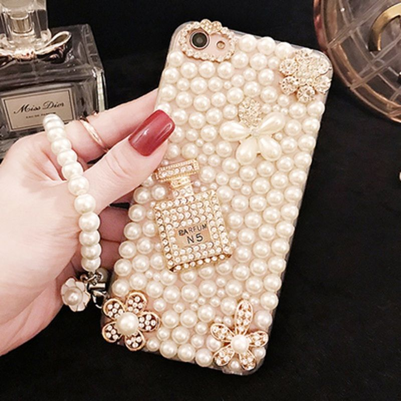For Huawei P10 P9 P8 Lite 2017 Luxury Plastic Back Case 3D Diamond Pearl Rhinestone Phone Case For Huawei Mate 9 7 8 S P7 P6