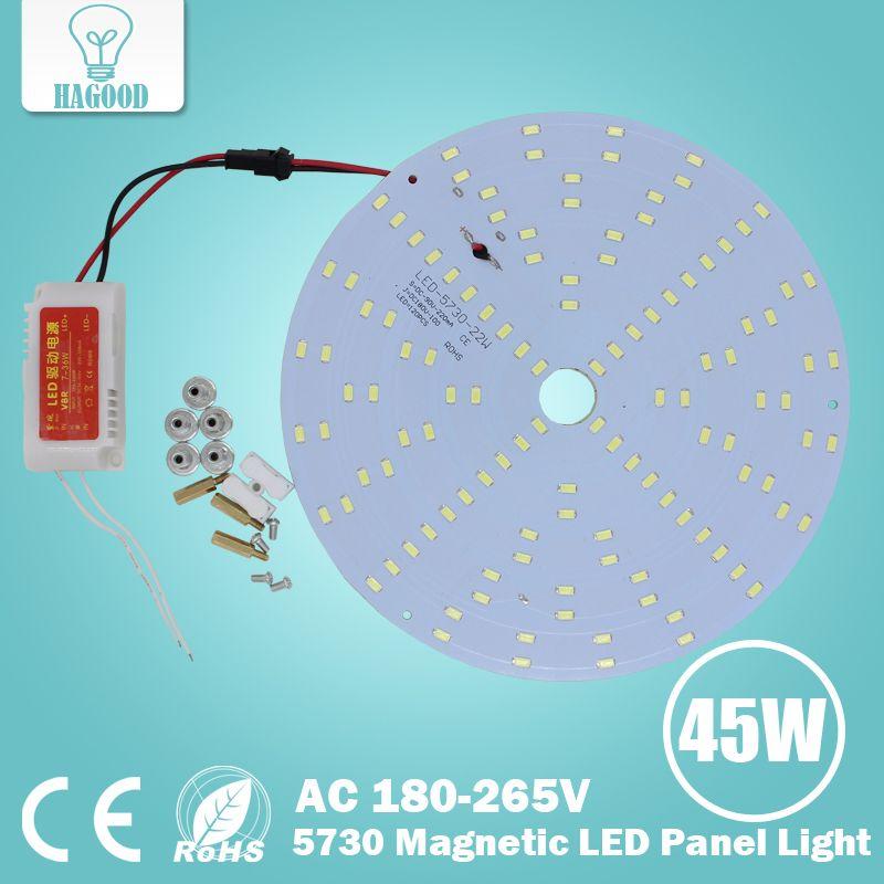 Bricolage LED panneau de lumière de plafond 5730 puce chaud/froid blanc forme ronde un ensemble 10 W 15 W 18 W 20 W 25 W 35 W 45 W AC 180-265 V