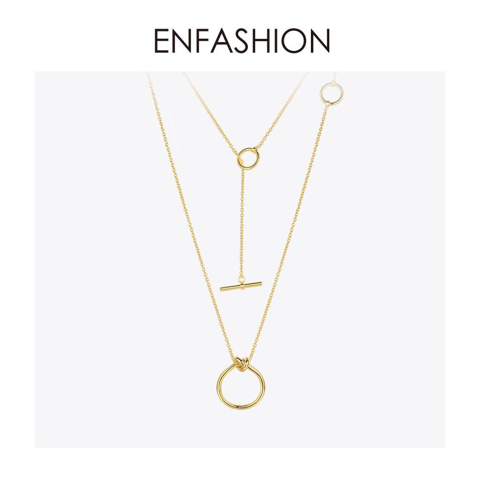 Enfashion classique noeud pendentifs colliers acier inoxydable couleur or Collier ras du cou pour femmes longue chaîne bijoux Collier