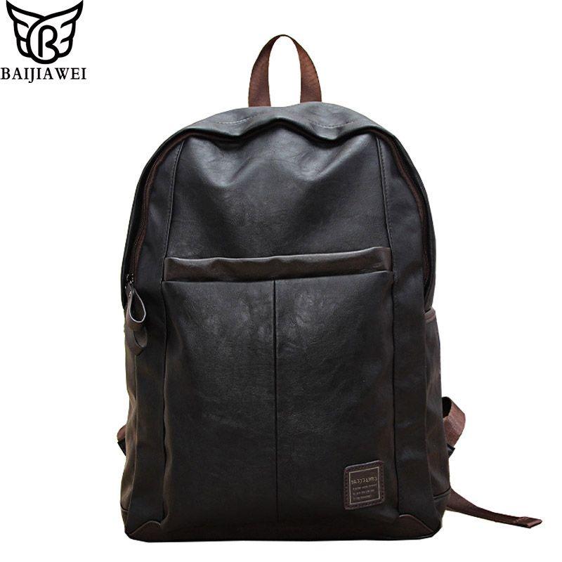 Baijiawei Лидер продаж масла Воск кожаный рюкзак для Для мужчин в студенческом стиле Сумки кожаная сумка для ноутбука Повседневное и путешестви...