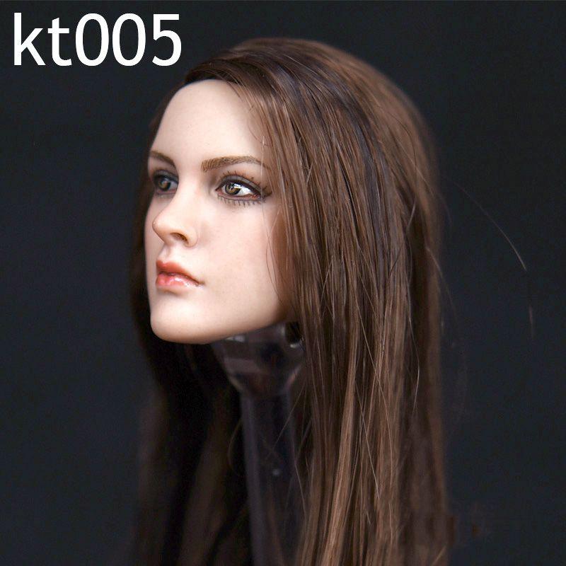 1/6 Female Head Sculpt KT005 European Girl Head Brown Hair For 12 inches Women HT PH Body Figure