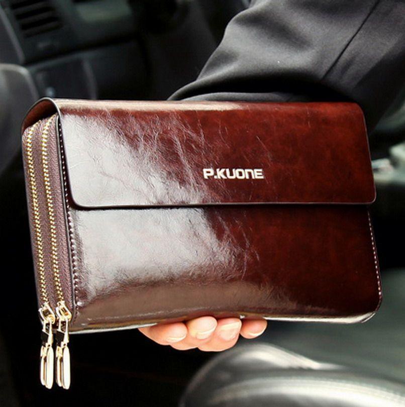 Hot Sale! Luxury Shining Oil Wax Cowhide Men Clutch Bag, Long Genuine Leather men wallets, <font><b>Double</b></font> Layer Business Clutch Bag