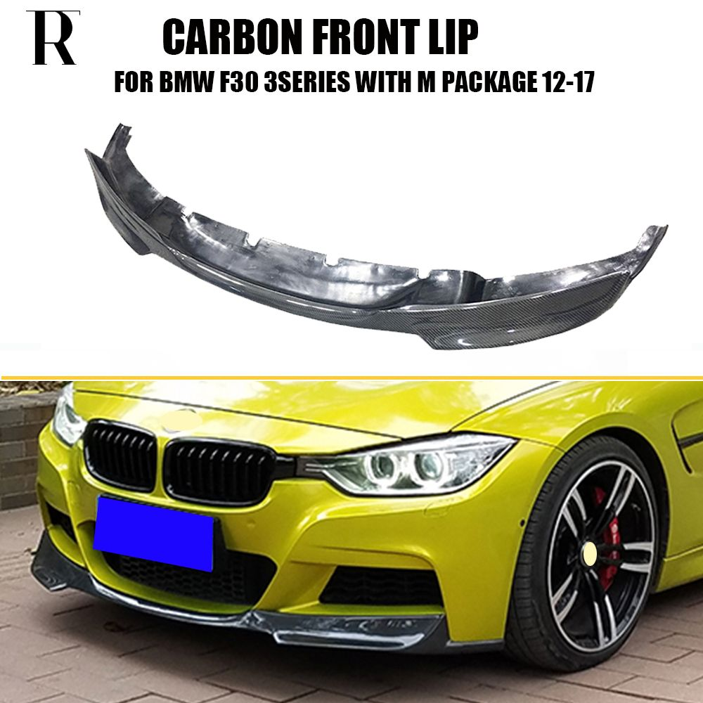 F30 V Style Carbon Fiber Front Bumper Lip Chin Spoiler for BMW F30 320i 328i 340i Sedan with M Package 2012 - 2017