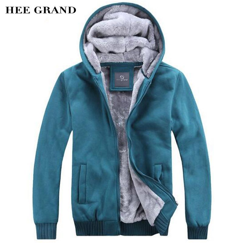HEE GRAND Men Thick Warm Hoodies Casual Style V-Neck Solid Color High Quality Windproof Winter Overcoat 4 Colors MWW1003