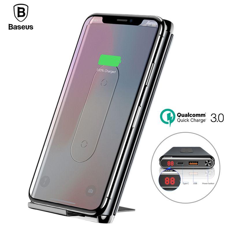 Baseus QI Wireless Charging Power Bank Ladegerät Für iPhone X 8 Xs Samsung S9 S8 Schnelle Lade QC3.0 PD Power drahtlose Ladegerät