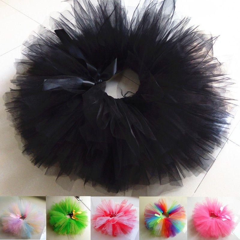 Filles bébé fête d'anniversaire Costume moelleux arc-en-ciel noir Tutu jupe Multi couleurs Handmake Ballet danse jupe enfants vêtements