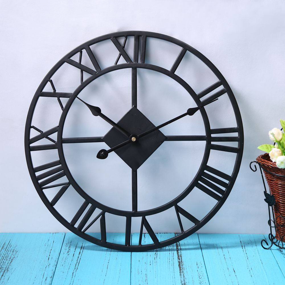 Traditional Black Vintage Iron Wall Clock Home Decor Roman Numerals and Quartz clock Mechanism Wall Clocks E5M1