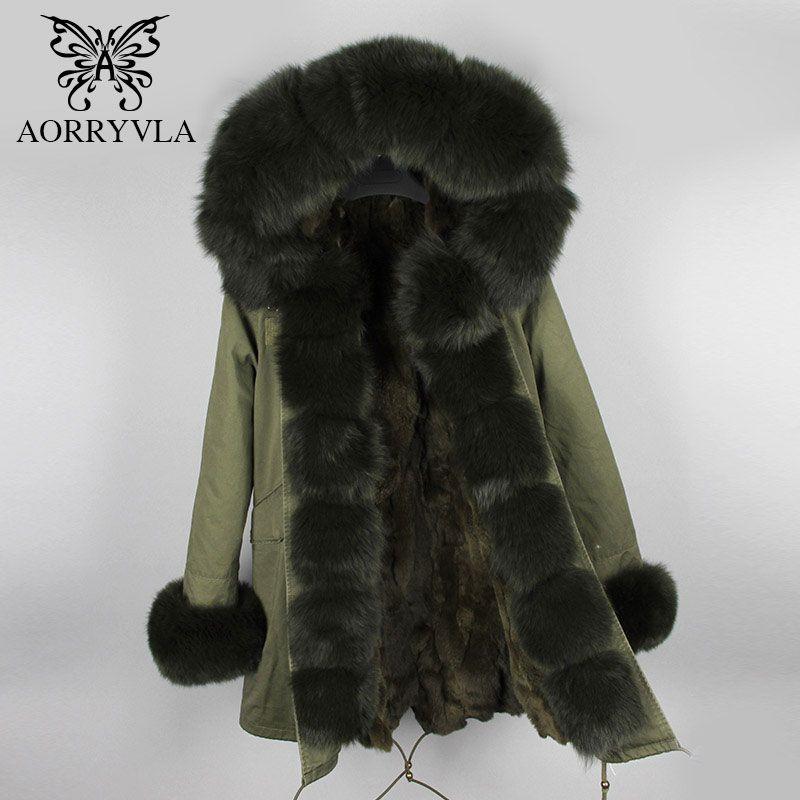 AORRYVLA Frauen der Pelz Parkas Winter 2018 Natürliche Fuchs Pelz Mit Kapuze Kragen Lange Jacke Dicke Warme Echt Kaninchen Pelz Gefüttert dame Mantel