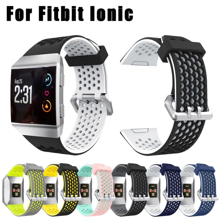 Lightweight Ventilate Silicone Perforated Accessory Sport Bands for Fitbit Ionic SP28 Drop shipping