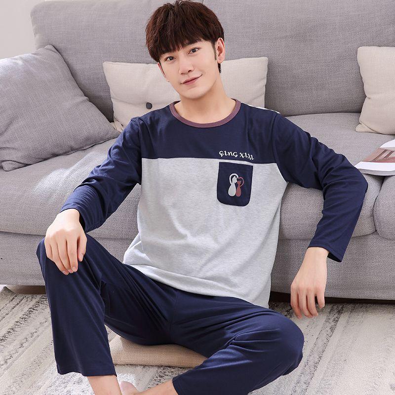 Hommes pyjamas A84 épais hommes manches longues coton cardigan pyjamas
