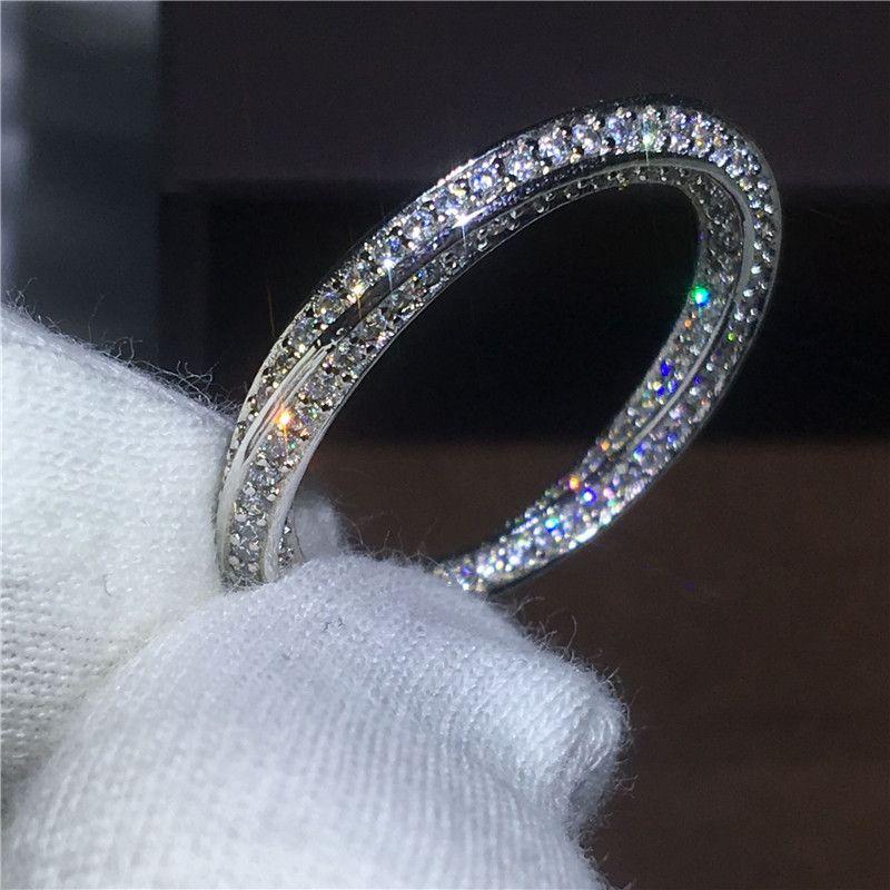 Крест любителей ювелирных 925 серебро кольцо проложить установка AAAAA cz камень циркон Обручение обручальное кольца для женщин Свадебные