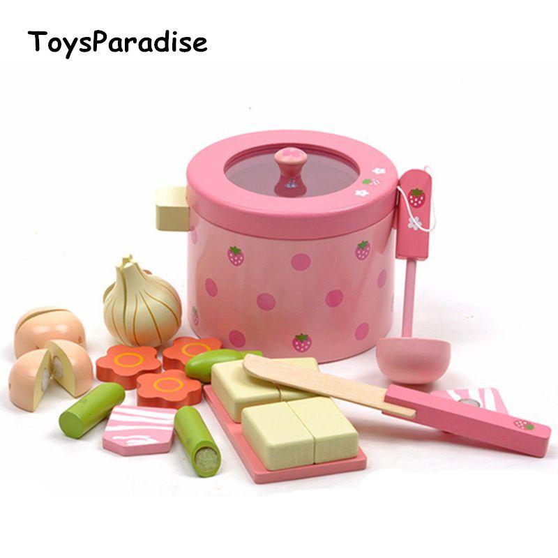 Bébé jouets Super mignon Simulation légume chaud Pot en bois jouets jouer nourriture Prentend jouer nourriture ensemble cadeau d'anniversaire