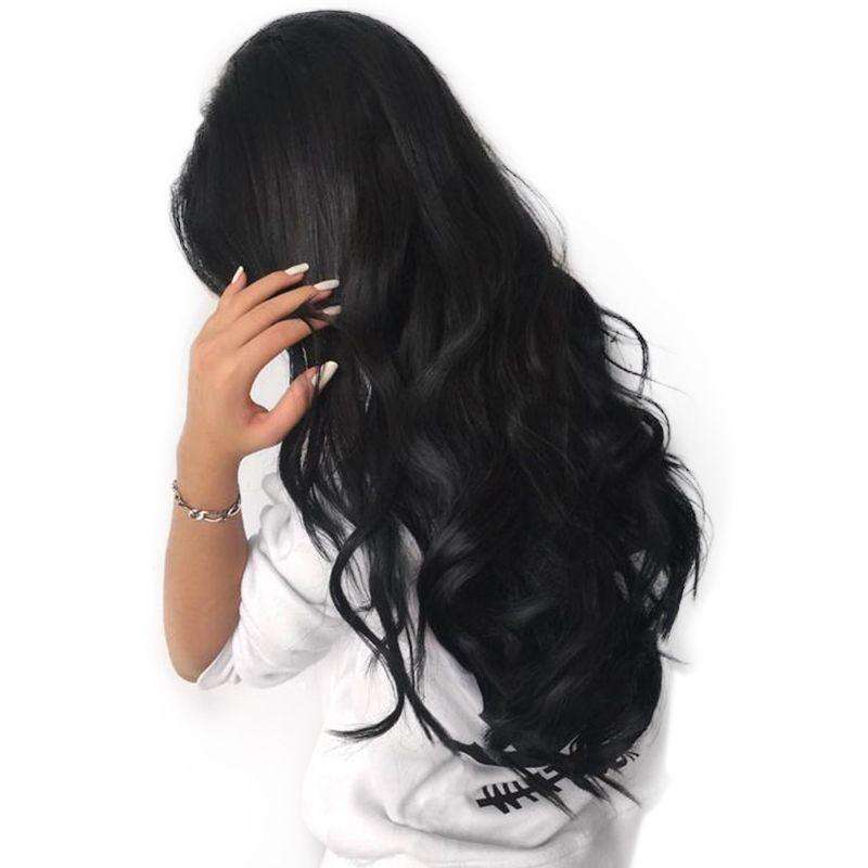 Синтетические волосы на кружеве Человеческие волосы Искусственные парики для черный Для женщин природных предварительно сорвал 250% плотно...