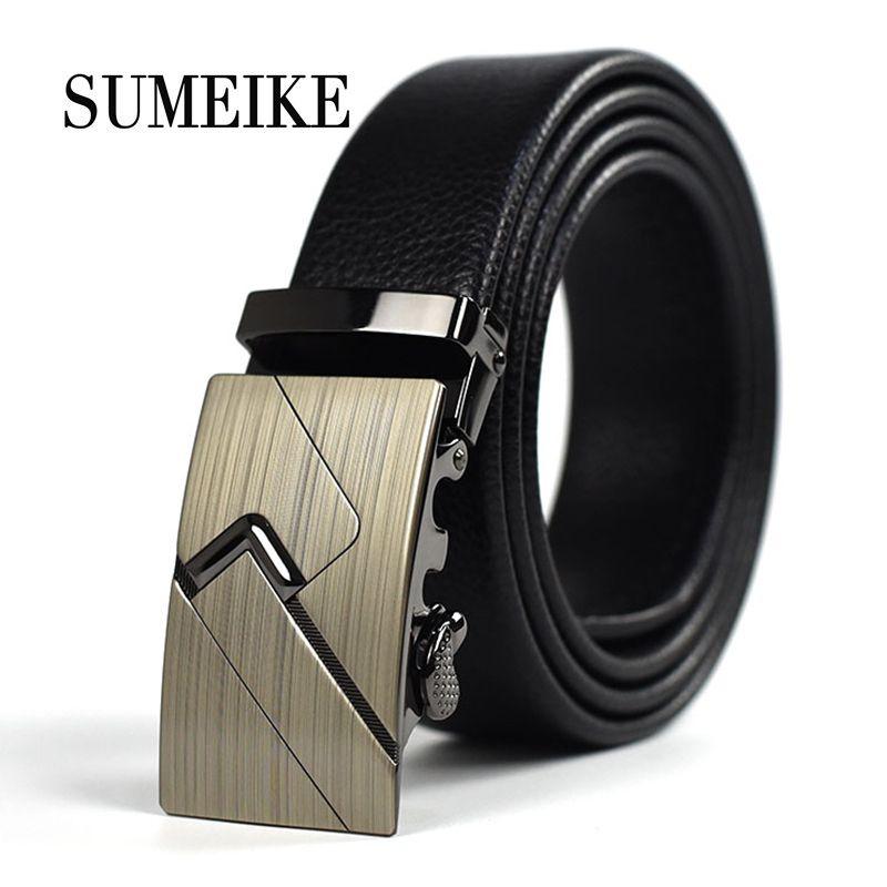 New Designer Luxury Leather Belt Plain Automatic Buckle Simple Casual Belts Suit Pants for Man Long Size 110CM-130CM
