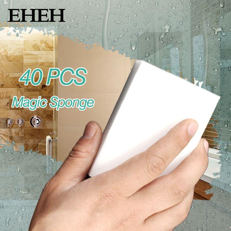 40 PCS Magic Sponge Eraser Cleaner Kitchen Accessory Tool Melamine Sponge Silicone Dish Washing Brush Cleaning 100*60*20mm EH056