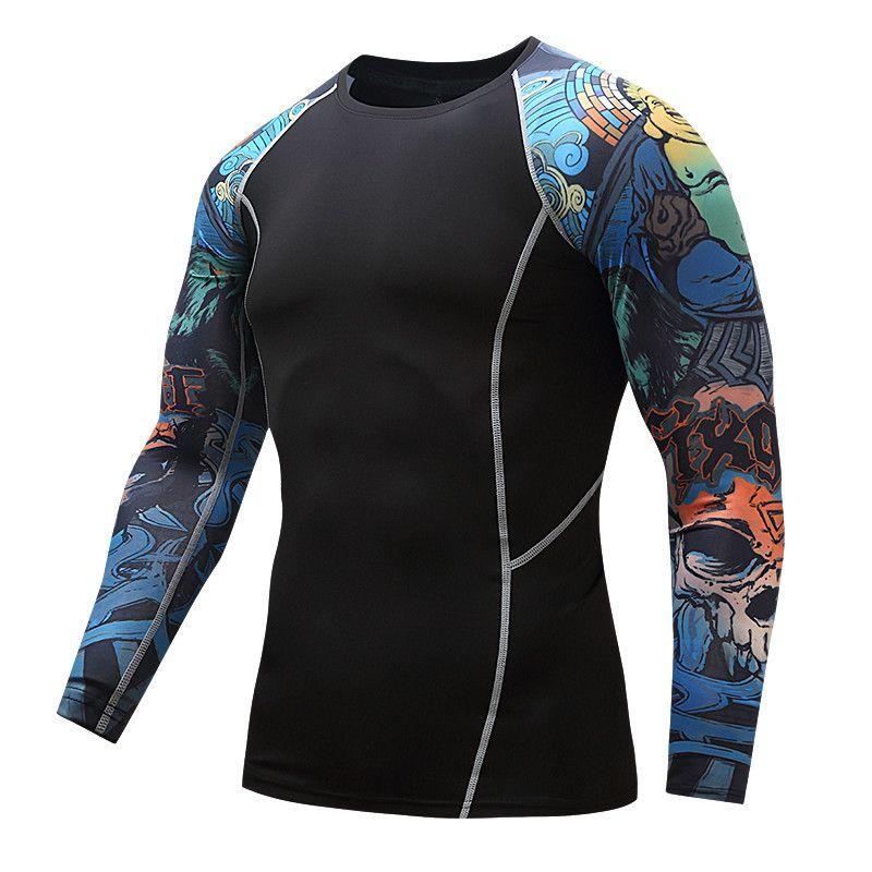 Ajoutez des t-shirts serrés à compression masculine à manches longues imprimés des deux côtés de MMA Rashguard fitness couche de base poids à porter